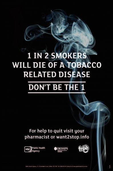 1 in 2 smokers will die of a tobacco related disease