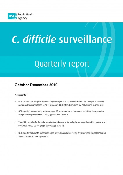 C. difficile surveillance quarterly report: October-December 2010