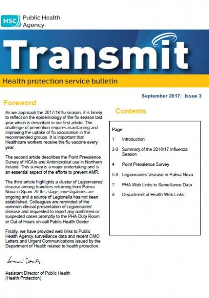 Transmit, Health Protection Service bulletin