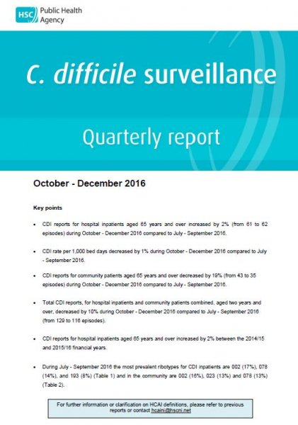 C.difficile surveillance report quarter October-December 2016