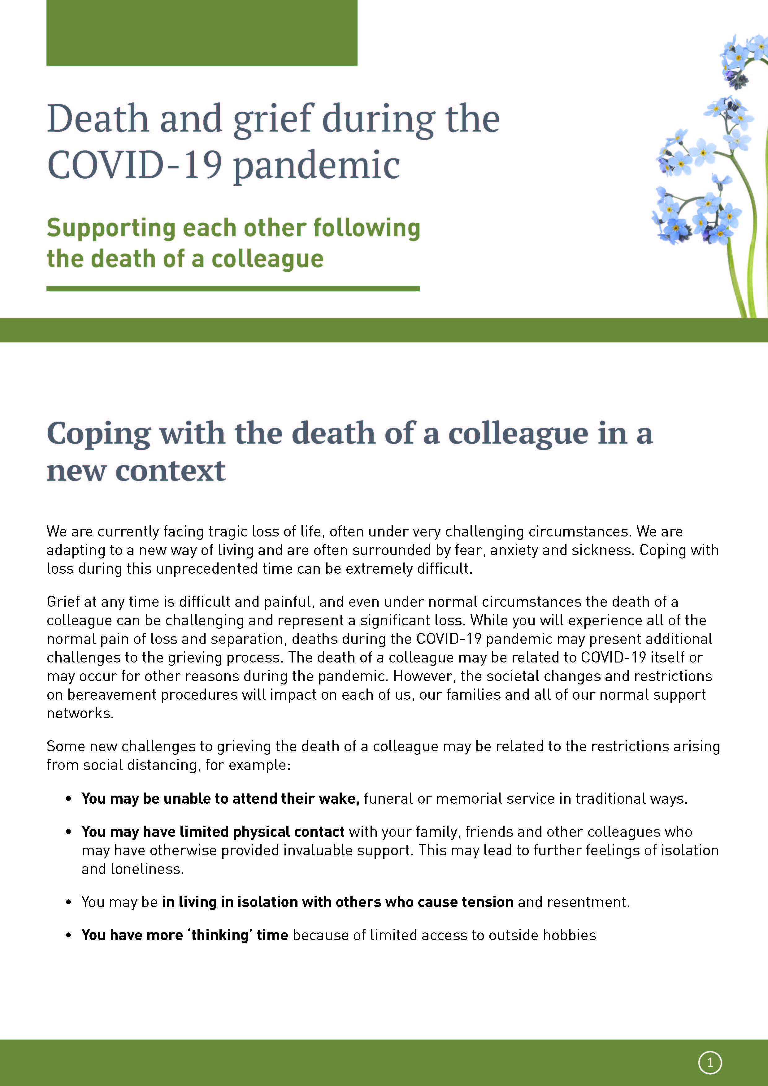 Cover of guidance on coping with the death of a colleague