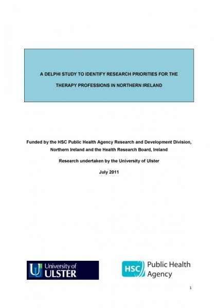 A Delphi study to identify research priorities for the therapy professions in Northern Ireland