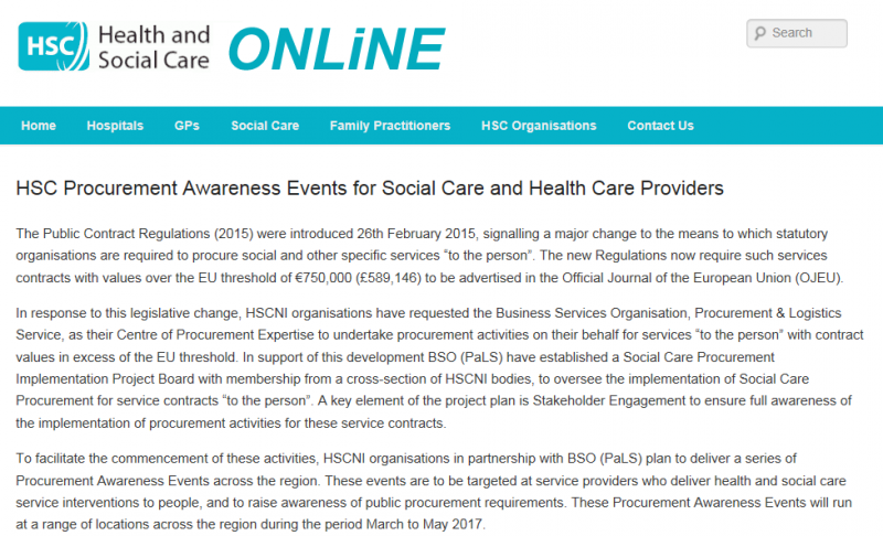Health and Social Care procurement awareness events
