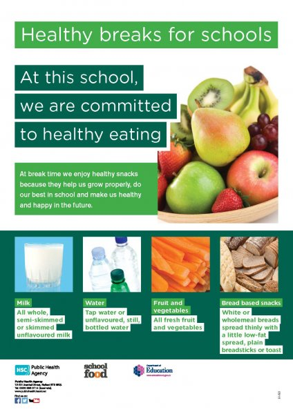 Healthy breaks for schools poster (English and Irish translation)