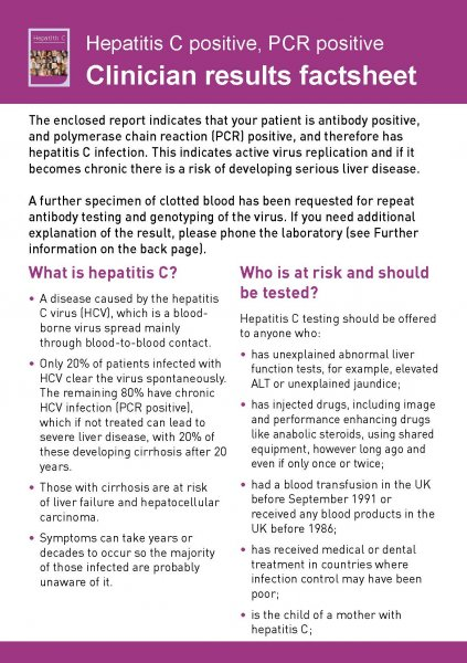 Hepatitis C - Clinician results factsheet
