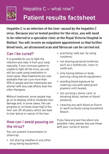 Hepatitis C - what now? Patient results factsheet (English and 6 translations)
