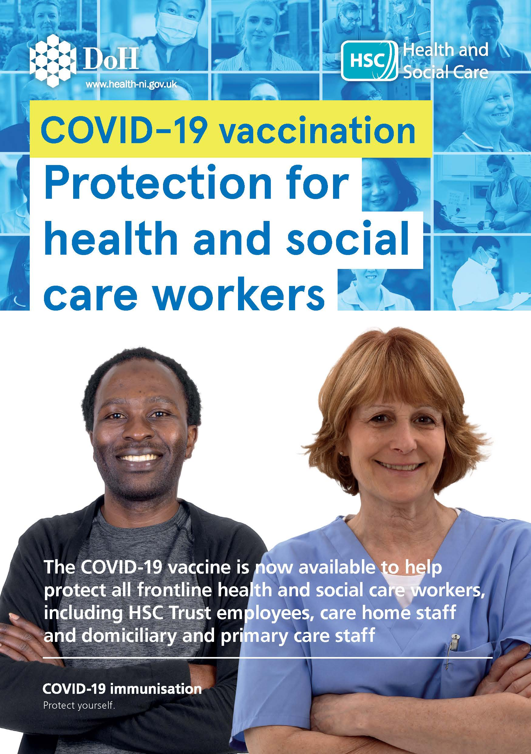 COVID-19 vaccination information for health and social care workers leaflet image