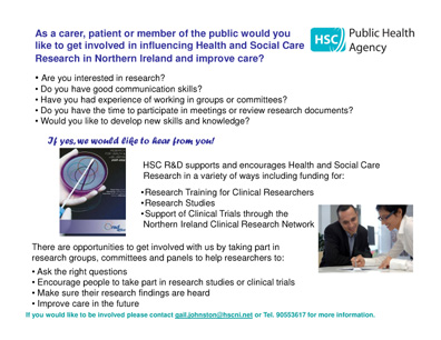 HSC R&D Personal and Public Involvement Flyer