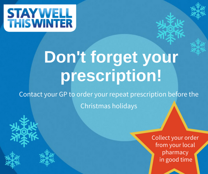 'Order prescriptions before the Christmas period' urge Health professionals