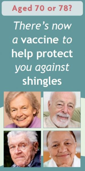 Aged 70 or 78? Remember to get your shingles vaccination