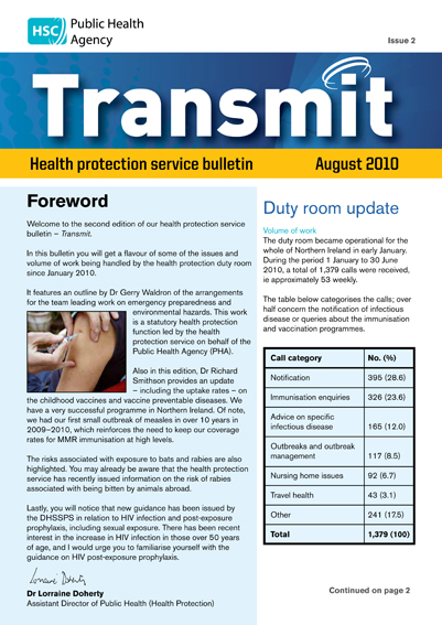 Transmit: Health protection service bulletin. 2010: Issue 2