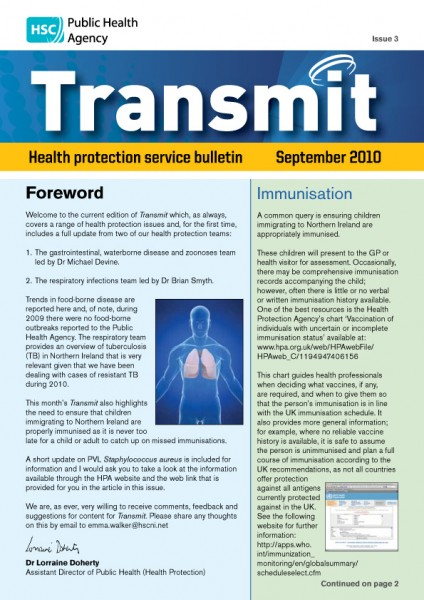 Transmit: Health protection service bulletin. 2010: Issue 3