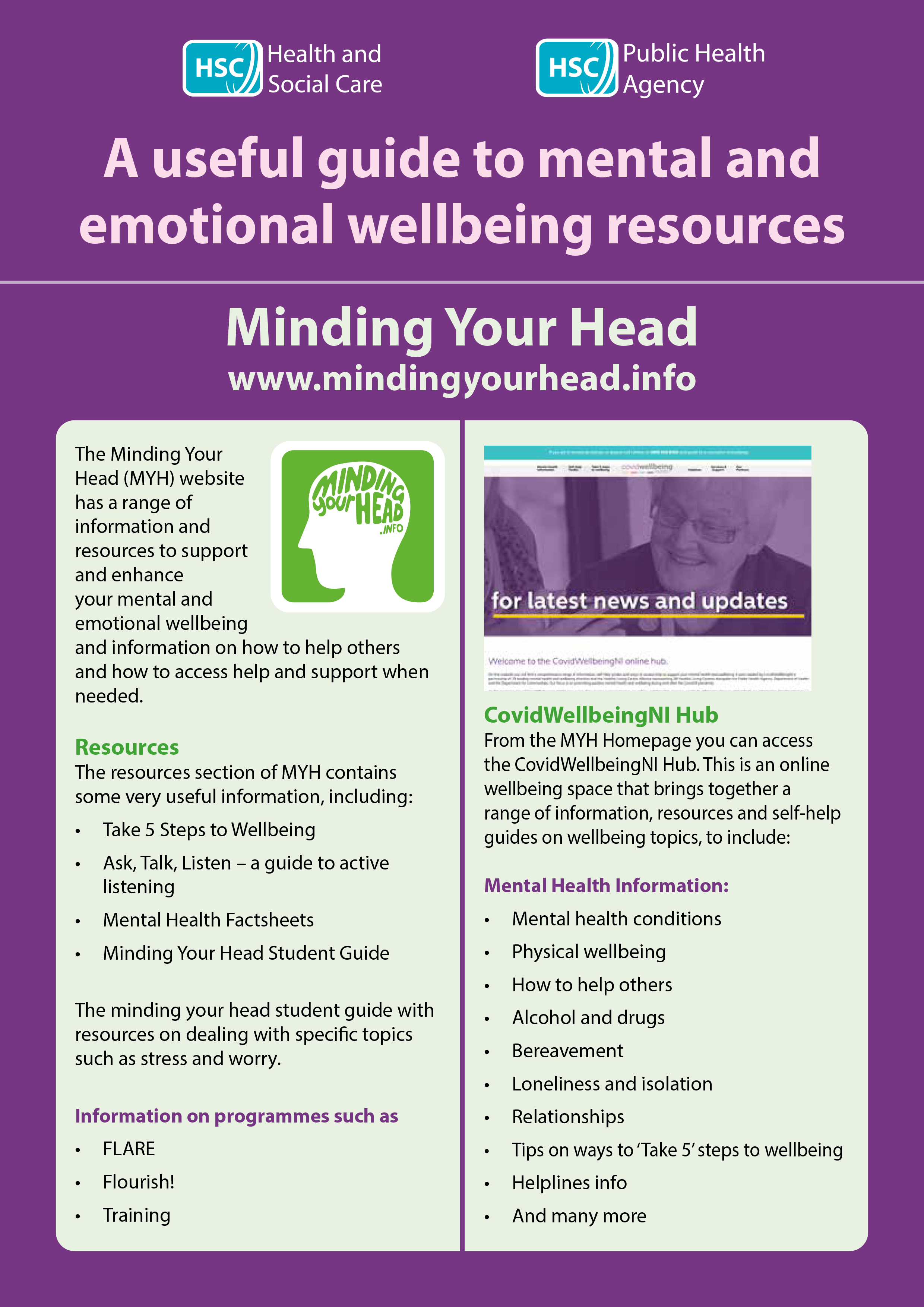 Useful guide to mental and emotional wellbeing resources