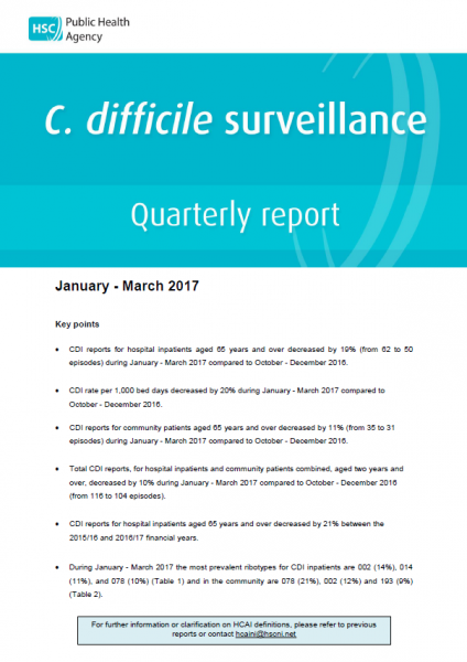 C.difficile surveillance report quarter January-March 2017