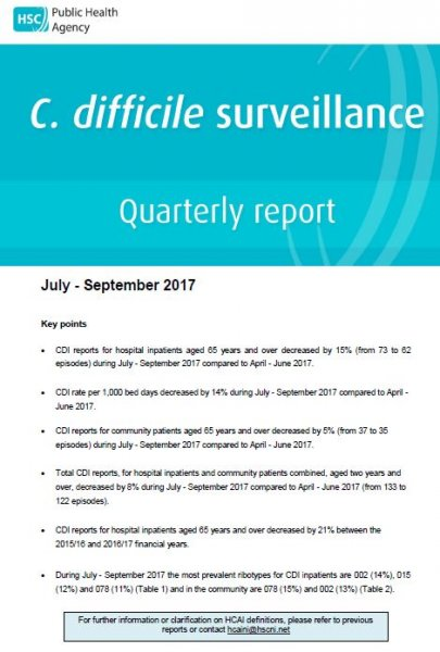 C.difficile surveillance report quarter July-September 2017