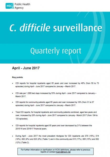 C.difficile surveillance report quarter April-June 2017