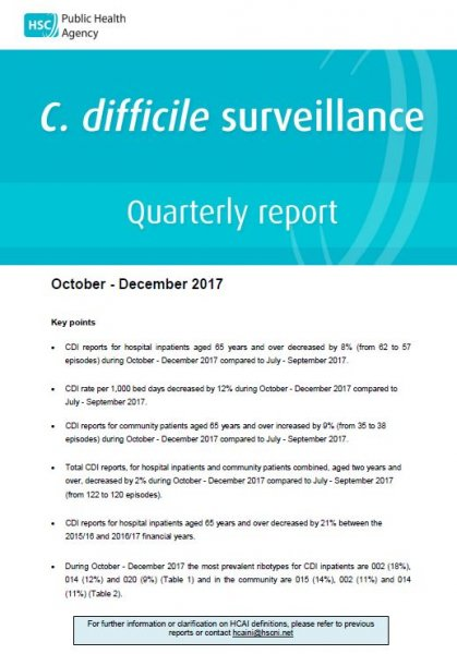 C.difficile surveillance report quarter October-December 2017