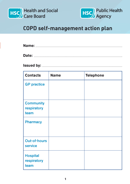 Chronic obstructory pulmonary disease (COPD) self-management action plan