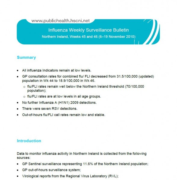 Influenza Weekly Surveillance Bulletin Northern Ireland, Weeks 45 and 46 (6–19 November 2010)