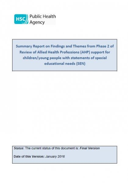 Phase 2 Summary Report: Review of Allied Health Professions (AHP) support for children/young people with a statement of special educational needs (SEN)