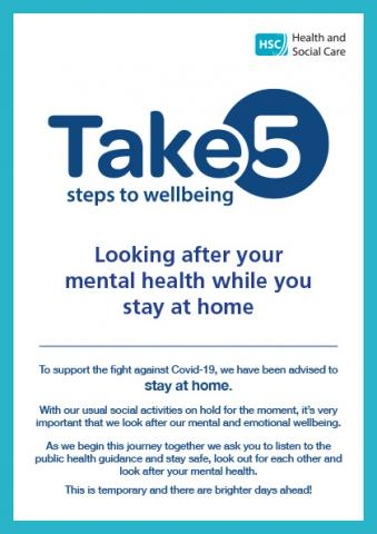 Cover of Take 5 while you stay at home leaflet