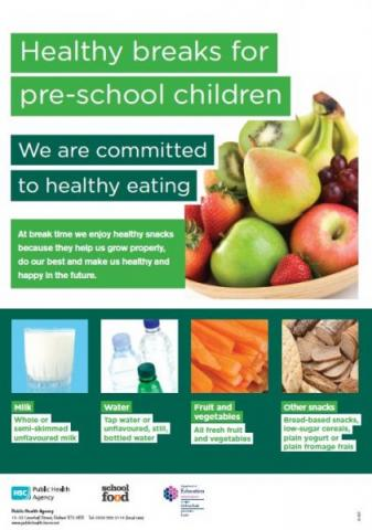 Healthy breaks for pre-school children poster (English and Irish translation)