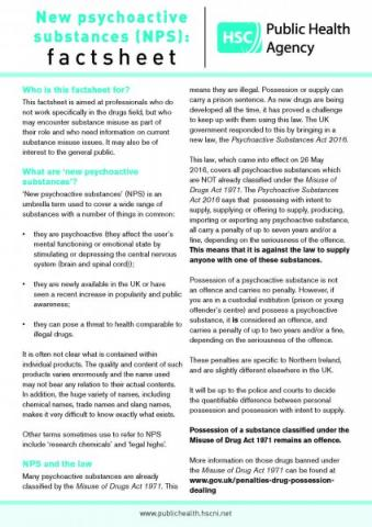 New psychoactive substances: factsheet