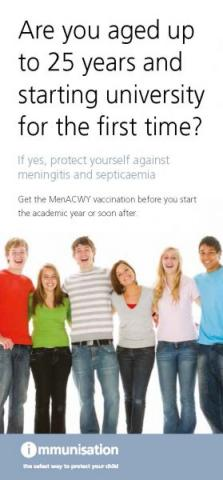 Are you aged up to 25 years and starting university for the first time? (MenACWY immunisation leaflet)