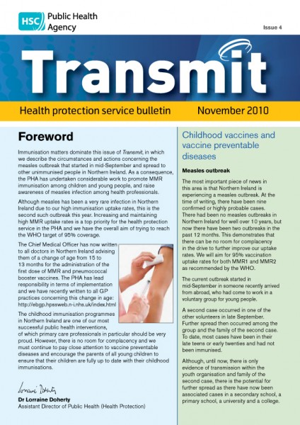 Transmit: Health protection service bulletin. 2010: Issue 5