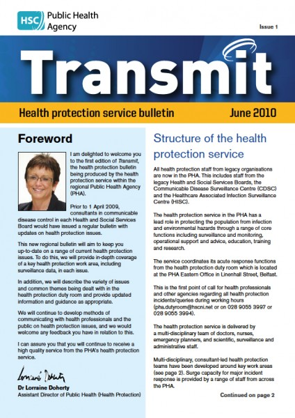 Transmit: Health protection service bulletin. 2010: Issue 1